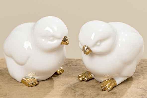 Küken Porzellan weiß-gold 2er-Set (361300)