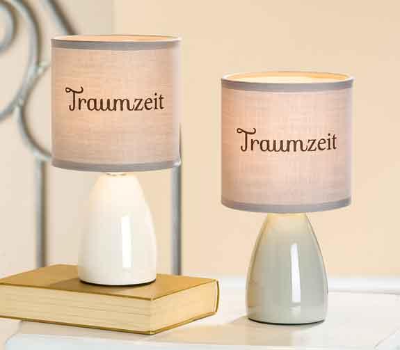 Lampe Keramik mit Schrift Traumzeit (G34603)