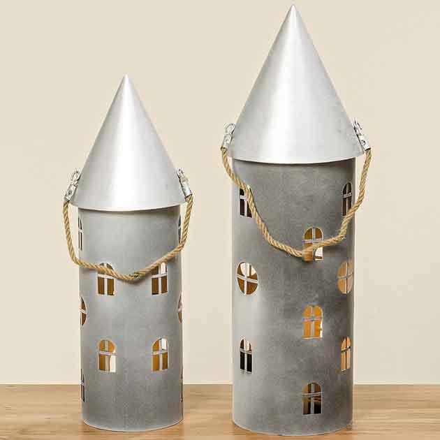 Windlicht Laterne Turm Metall grau/silber 72 + 86 cm (1008302)