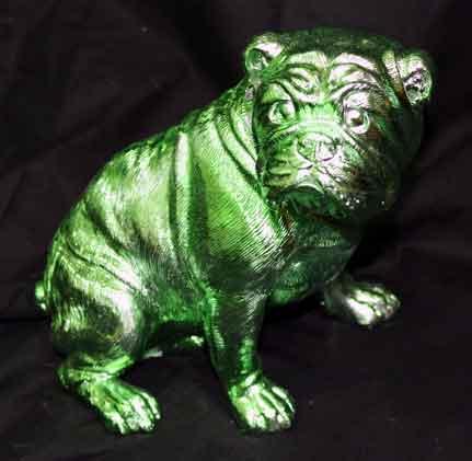 Bulldogge sitzend grün glänzend 20 cm (71467w)
