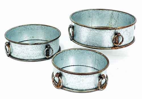 Pflanzbottich mit 4 Ringen Metall-Zink 3 Größen (924016)