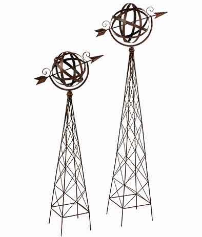 Ranksäule Obelisk mit Kugel und Pfeil Metall (923445)