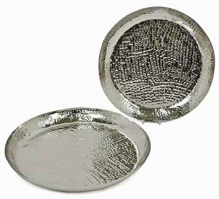 Schale silber Metall gehämmert flach (936122)