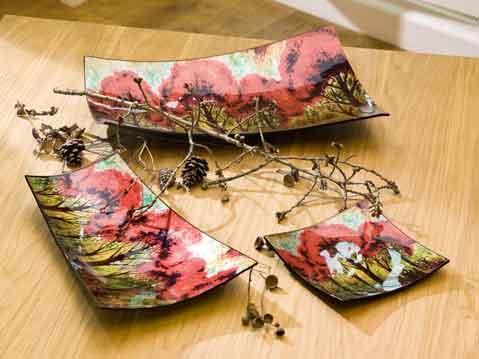 Teller Glas Deko Schale RED TREE (G40626)