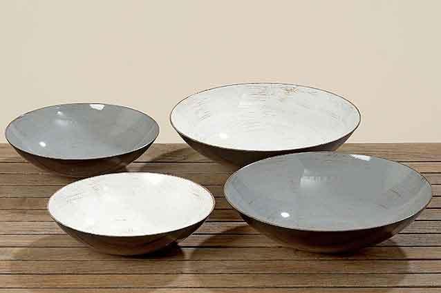 Schale Dekoschale grau weiß 28-35 cm (554750)