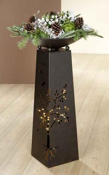 Säule Vogelbaum mit Schale Metall (G68648) Schalenständer