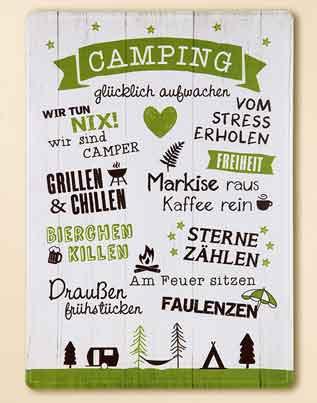 Schild Camping mit Sprüchen 30 x 42 cm Metall (G67101)