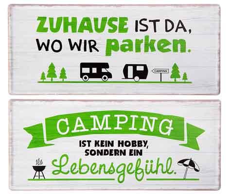 Schild Camping mit Sprüchen 35 x 15 cm Metall (G67473)