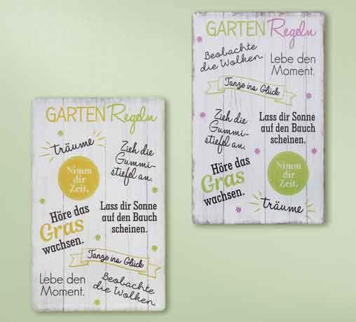 Schild Gartenregeln mit Sprüchen 19 x 30 cm (G68678)