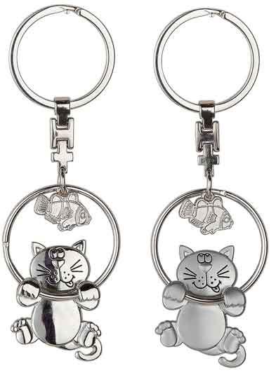 Schlüsselanhänger Katze mit Fisch witzig (G51111)