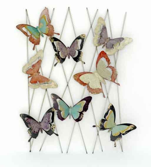 Wanddeko Schmetterling Metall bunt 71 cm (916956)