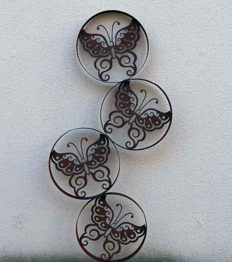 Wanddeko Schmetterling Metall Rost 110 cm