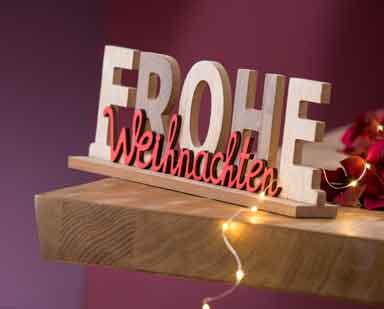 Schriftzug Frohe Weihnachten Holz 30 cm (G22274)