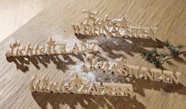 Schriftzug Weihnachten 4 Motive Holz natur 30 cm (G21684)