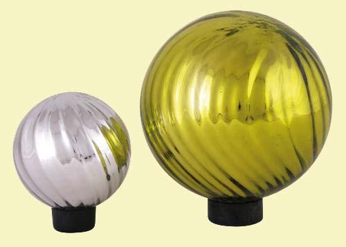 Schwimmkugel Glas grün silber (213559e)
