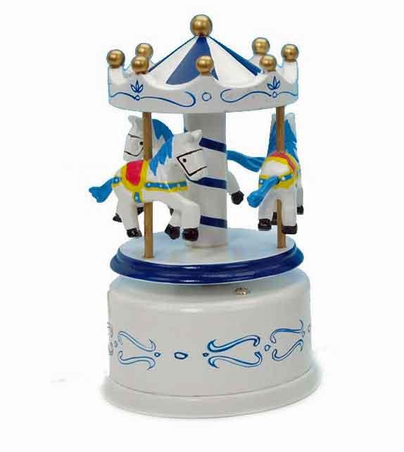 S16013 Spieldosen Spieluhr Karussell Holz blau