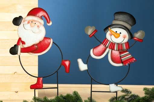 Gartenstecker Santa / Snowman groß 74 cm (24172G)