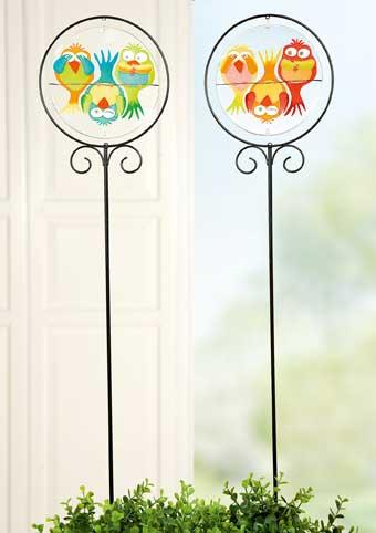 Gartenstecker Eule Metall/Glas 115 cm (G40014)