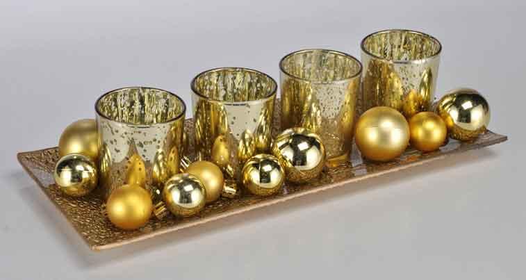Weihnachtsdeko Gold.Weihnachtsdeko Windlicht Set Mit Tablett Gold 54244