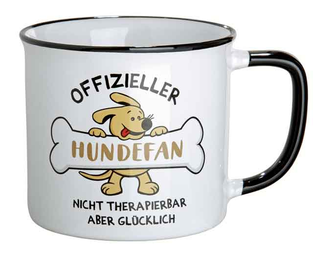 Kaffeebecher Tasse Keramik Emaille-Design Hundefan (G46926)