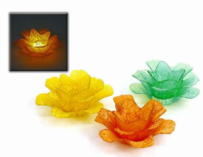 Teelichthalter Blüte Glas 17,5 cm (950144)