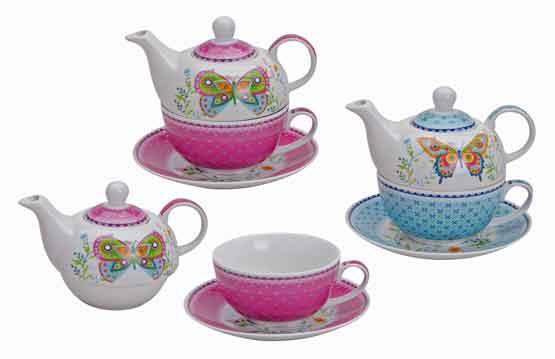 Teetasse mit Teekanne Schmetterling (12564w)