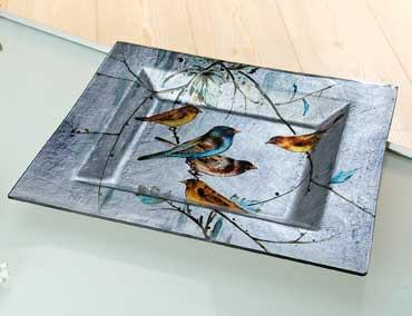 Teller Glas Deko Schale Birdy 4 Größen