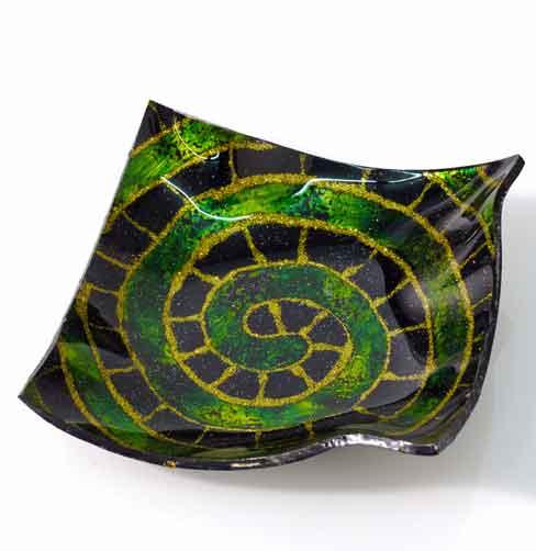 Teller Glas Deko Schale Mira grün (953305)
