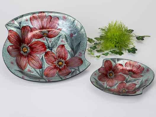 Teller Glas Deko Schale Rote Blumen 29 cm (B884213)