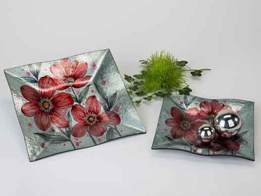 Teller Glas Deko Schale Rote Blumen 25 cm (B884237)