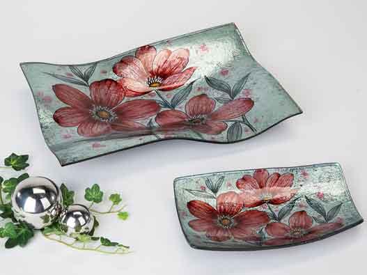 Teller Glas Deko Schale Rote Blumen 32 cm (B884244)