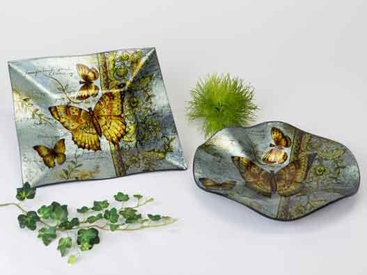 Teller Glas Deko Butterfly 25 cm (B884640)