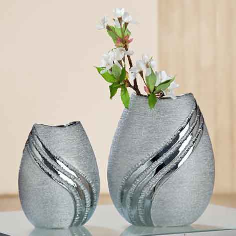 Vase Grigio Keramik grau-silber 22 cm (G33276)