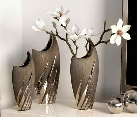 Vase Yucca Keramik grau-silber 29 cm (G43005)
