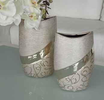 Vase Stella Keramik champagner-silber 20,5 cm (G43268)