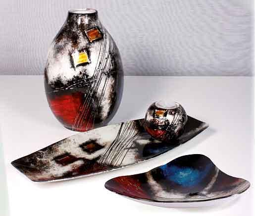 Teller Glas Deko Schale Kassiopeia 43 cm lang (S550003)