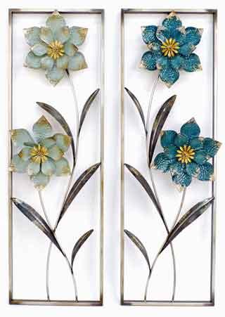 Wanddeko Blumen Metall 90 cm (G23181)