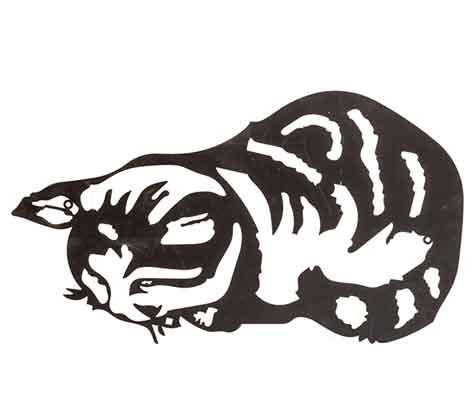 Wanddeko Katze Metall schwarz (918719)