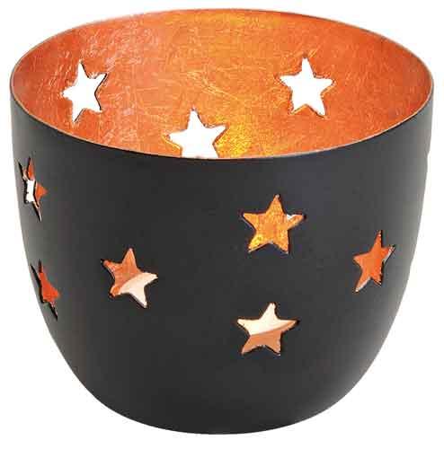 Windlicht Stern schwarz-kupfer (13884w) Metall 8