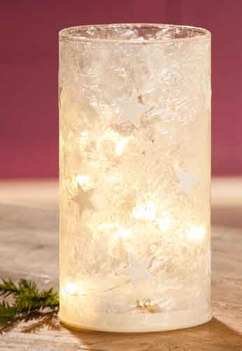 LED Glas Windlicht Zylinder Ice-Stars (G22076)