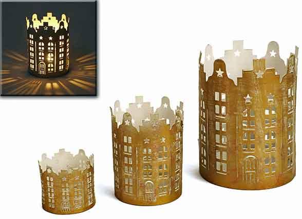 Windlicht Turm Metall gold/weiß 3er-Set (932244)