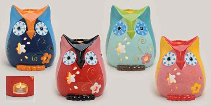 Windlicht Eule bunt Keramik in 4 Farben (20978w)