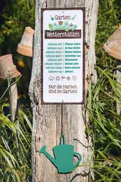 Schild Wetterstation Garten witzig 30 x 14 cm Metall (G46178)