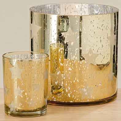Windlicht Glas gold 20 cm (1010068)