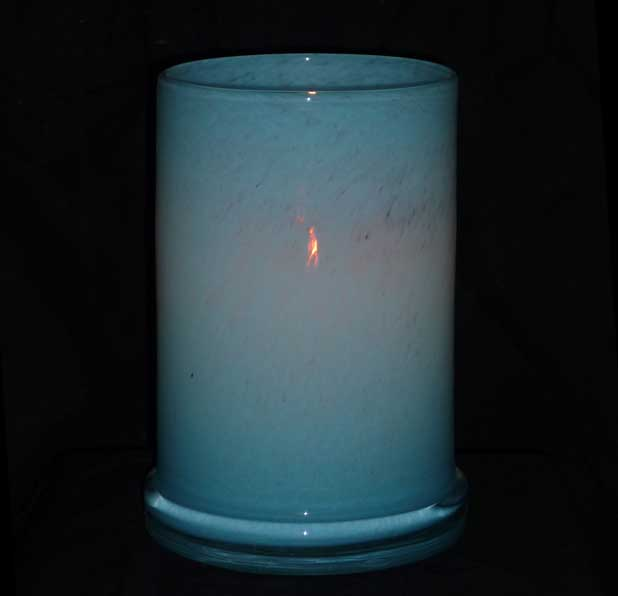 Windlicht Glas 20 cm blau (83377a)
