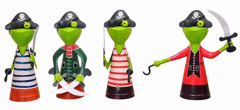 Zaunhocker Frosch Pirat Metall 35 cm (206978e)