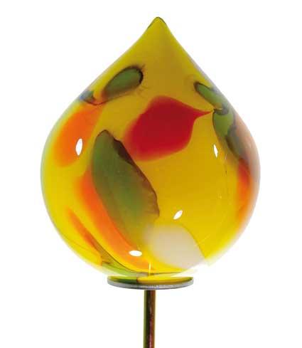 Glas Zwiebel 20 cm auf Stab mundgeblasen (10800orange)